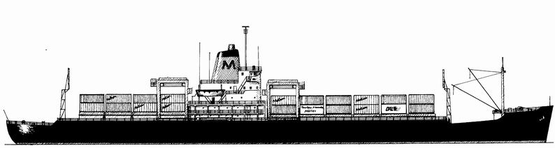 Container Ship Drawing Into an containership.